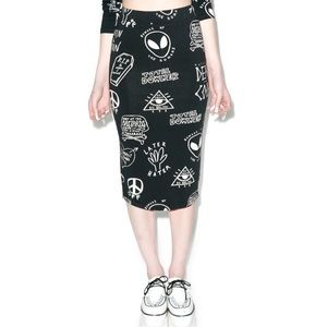Disturbia Alien Nation Graffiti Print Pencil Skirt